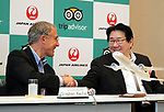 "September 11, 2017, Tokyo, Japan - World's largest travel site operator TripAdvisor president Stephen Kaupher (L) shakes hands with Japane Airlines (JAL) president Yoshiharu Ueki at the JAL headquarters in Tokyo on Monday, September 11, 2017. TripAdvisor and JAL announced a strategic partnership and JAL will launch a website of ""Untold Stories of Japan"" on the TripAdvisor website from October for the promotion of tourism in Japan. (Photo by Yoshio Tsunoda/AFLO) LWX -ytd-"