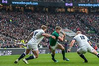 Twickenham, United Kingdom.   Natwest 6 Nations : England vs Ireland. Garry Ringrose, attempts to go for the gap between 17 Joe Marler, and  R 18 Dan Cole, at the  RFU Stadium, Twickenham, England, <br />