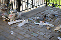 Paris, France. 09.05.2015. Pigeons pecking through the litter from an overflowing rubbish bin, Montmartre. Photograph © Jane Hobson.