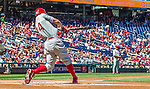 7 September 2014: Philadelphia Phillies outfielder Grady Sizemore connects against the Washington Nationals at Nationals Park in Washington, DC. The Phillies fell to the Nationals 3-2 in their final meeting of the season. Mandatory Credit: Ed Wolfstein Photo *** RAW (NEF) Image File Available ***