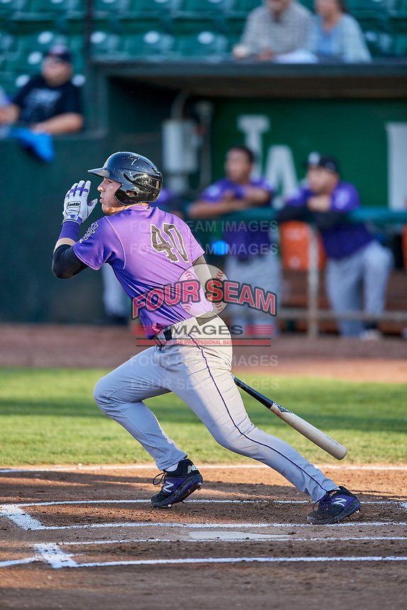Grant Lavigne (40) of the Grand Junction Rockies bats during a game against the Ogden Raptors at Lindquist Field on September 7, 2018 in Ogden, Utah. The Rockies defeated the Raptors 8-5. (Stephen Smith/Four Seam Images)
