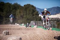 Riders jumping at Spanish Motocross Championship at Albaida circuit (Spain), 22-23 February 2014