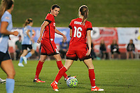 Piscataway, NJ - Sunday Sept. 25, 2016: Christine Sinclair, Emily Sonnett during a regular season National Women's Soccer League (NWSL) match between Sky Blue FC and the Portland Thorns FC at Yurcak Field.