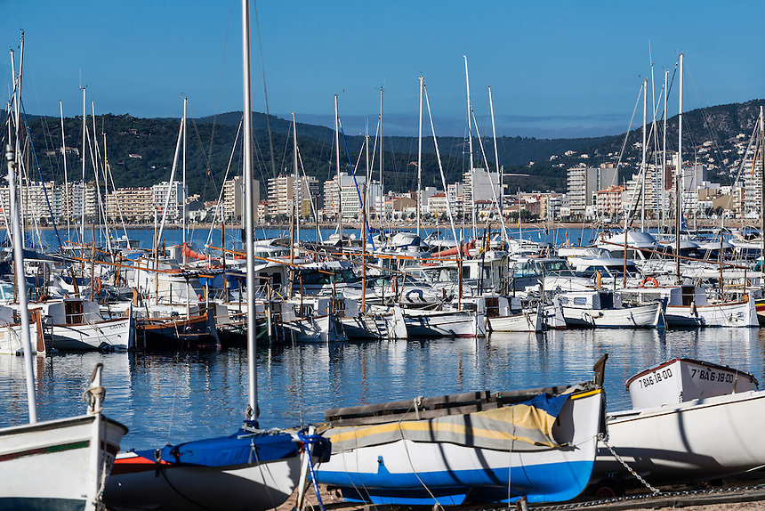 Harbor boats and city skyline, Palamos, Spain