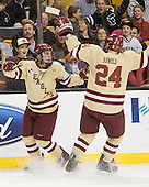 Johnny Gaudreau (BC - 13), Bill Arnold (BC - 24) - The Boston College Eagles defeated the Northeastern University Huskies 7-1 in the opening round of the 2012 Beanpot on Monday, February 6, 2012, at TD Garden in Boston, Massachusetts.