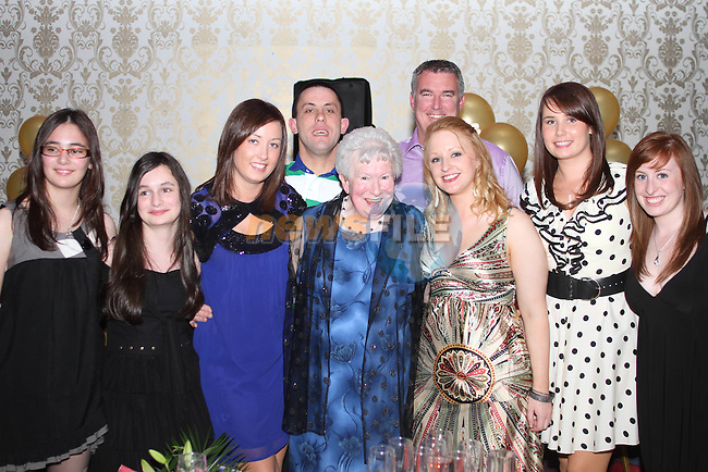 May Carpenter with her grandchildren at her 80th birthday party in the Star and Crescent...Picture Jenny Matthews/Newsfile.ie