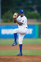 Burlington Royals relief pitcher Jose Veras (38) in action against the Princeton Rays at Burlington Athletic Stadium on June 24, 2016 in Burlington, North Carolina.  The Rays defeated the Royals 16-2.  (Brian Westerholt/Four Seam Images)