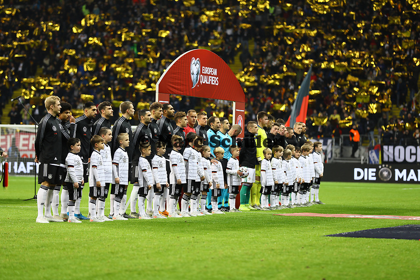Einlauf der Mannschaften - 19.11.2019: Deutschland vs. Nordirland, Commerzbank Arena Frankfurt, EM-Qualifikation DISCLAIMER: DFB regulations prohibit any use of photographs as image sequences and/or quasi-video.