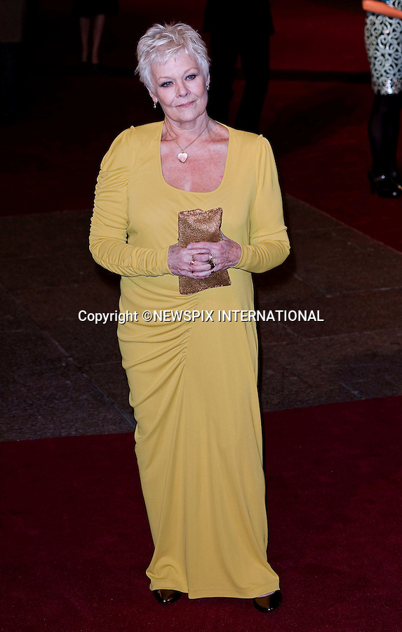 """Dame Judi Dench.World Premiere of NINE.Attended by the all star cast including Daniel Day-Lewis, Penelope Cruz, Dame Judi Dench, Kate Hudson and Nicole Kidman_Odeon Leicester Square_London, 03/12/2009..Mandatory Photo Credit: ©Dias/Newspix International..**ALL FEES PAYABLE TO: """"NEWSPIX INTERNATIONAL""""**..PHOTO CREDIT MANDATORY!!: NEWSPIX INTERNATIONAL(Failure to credit will incur a surcharge of 100% of reproduction fees)..IMMEDIATE CONFIRMATION OF USAGE REQUIRED:.Newspix International, 31 Chinnery Hill, Bishop's Stortford, ENGLAND CM23 3PS.Tel:+441279 324672  ; Fax: +441279656877.Mobile:  0777568 1153.e-mail: info@newspixinternational.co.uk"""
