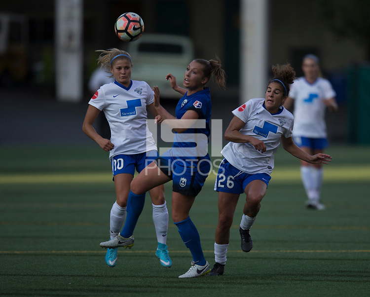 Seattle, WA - Saturday July 15, 2017: Rosie White, Lindsay Elston, Angela Salem during a regular season National Women's Soccer League (NWSL) match between the Seattle Reign FC and the Boston Breakers at Memorial Stadium.