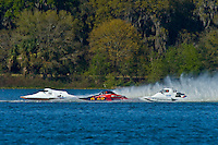 "(L to R): Jim Aid, A-33 ""In Cahoots Again"", 2.5 Mod class hydroplane, Nicky Pellerin, A-60 ""Mr. Bud"", 2.5 Mod hydroplane and Jim Aid, A-33 ""In Cahoots Again"", 2.5 Mod class hydroplane."