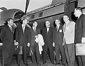 Officials from NASA Headquarters and the astronauts often met with Dr. Wernher von Braun in Huntsville, Alabama. This photograph was taken in September 1962 during one such visit. From left to right are Elliot See, Tom Stafford, Wally Schirra, John Glenn, Brainerd Holmes, Dr. von Braun, and Jim Lovell..Credit: NASA via CNP
