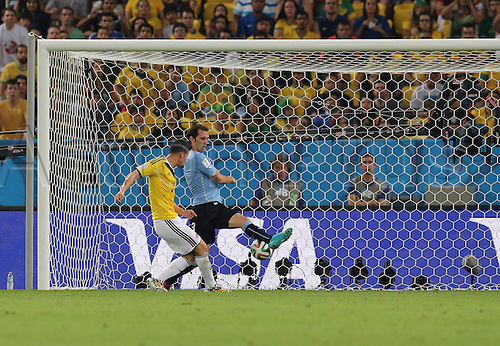 28.06.2014. Rio De Janeiro, Brazil. World Cup 2nd Round. Colombia versus Uruguay. James Rodriguez scores his second goal for 2-0