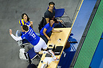 06.05.2018, Max Schmeling Halle, Berlin<br />Volleyball, Bundesliga MŠnner / Maenner, Play-offs, Finale 4. Spiel, Berlin Recycling Volleys vs. VfB Friedrichshafen<br /><br />Abwehr Markus Steuerwald (#13 Friedrichshafen) ueber Tische<br /><br />  Foto &copy; nordphoto / Kurth