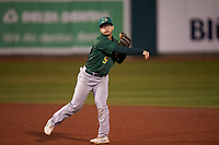 Beloit Snappers second baseman Ryan Gridley (5) throws to first base during a Midwest League game against the Lansing Lugnuts at Cooley Law School Stadium on May 4, 2019 in Lansing, Michigan. Beloit defeated Lansing 2-1. (Zachary Lucy/Four Seam Images)