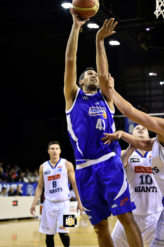 Tai Wesley in action during the NBL - Wellington Saints v Nelson Giants at TSB Bank Arena, Wellington,  New Zealand on Friday 22 April 2016. <br /> Photo by Masanori Udagawa. <br /> www.photowellington.photoshelter.com.