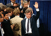 """New York, NY - (FILE) -- United States Senator Edward M. """"Ted"""" Kennedy (Democrat of Massachusetts) waves to supporters from the floor of the 1980 Democratic National Convention in New York, New York on Thursday, August 14, 1980.  Kennedy challenged incumbent President Jimmy Carter for his party's 1980 nomination.  .Credit: Arnie Sachs / CNP"""