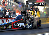 Feb 9, 2018; Pomona, CA, USA; NHRA top fuel driver Leah Pritchett during qualifying for the Winternationals at Auto Club Raceway at Pomona. Mandatory Credit: Mark J. Rebilas-USA TODAY Sports