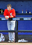 28 February 2011: Washington Nationals' outfielder Bryce Harper watches play from the dugout during a Spring Training game against the New York Mets at Digital Domain Park in Port St. Lucie, Florida. The Nationals defeated the Mets 9-3 in Grapefruit League action. Mandatory Credit: Ed Wolfstein Photo