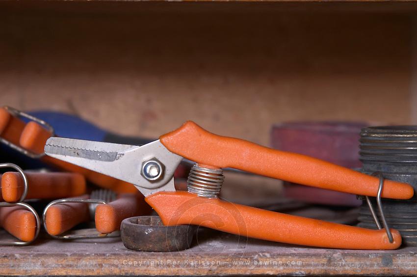 A secateur tool for manual harvest - Chateau La Grave Figeac, Saint Emilion, Bordeaux