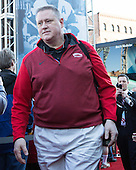 Larry Venis (BU - Head Athletic Trainer), Brian Kelley (BU - Assistant AD-Communications) - The teams walked the red carpet through the Fan Fest outside TD Garden prior to the Frozen Four final on Saturday, April 11, 2015, in Boston, Massachusetts.