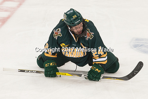 Chris Muscoby (UVM - 24) - The visiting University of Vermont Catamounts tied the Boston College Eagles 2-2 on Saturday, February 18, 2017, Boston College's senior night at Kelley Rink in Conte Forum in Chestnut Hill, Massachusetts.Vermont and BC tied 2-2 on Saturday, February 18, 2017, Boston College's senior night at Kelley Rink in Conte Forum in Chestnut Hill, Massachusetts.