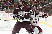 Jake Kulevich (Colgate - 11), Jake Horton (Harvard - 91) - The Harvard University Crimson defeated the visiting Colgate University Raiders 7-4 (EN) on Saturday, February 20, 2016, at Bright-Landry Hockey Center in Boston, Massachusetts,