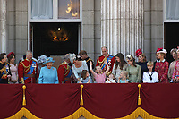 Princess Anne, Princess Beatrice, Prince Andrew, Camilla Duchess of Cornwall, Queen Elizabeth II, Prince Charles, Meghan Duchess of Sussex, Prince Harry, Catherine Duchess of Cambridge, Prince William, Princess Charlotte, Prince George on the balcony at Buckingham Palace., London, England, UK for Trooping of the Colour, June 09, 2018.<br /> CAP/GOL<br /> &copy;GOL/Capital Pictures