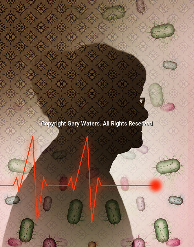 Bacteria and pulse trace over elderly woman's profile