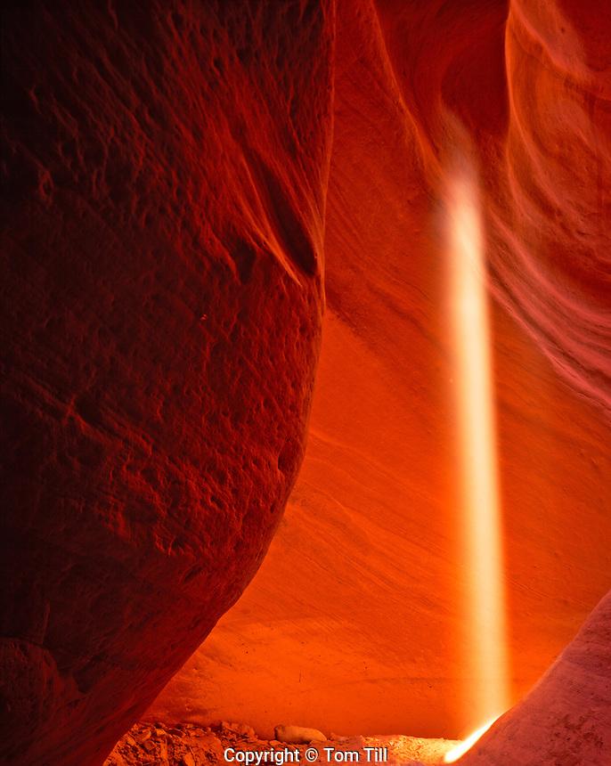 Light Ray in Slot Canyon, Swirled Sandstone Erosion from Flashfloods, Proposed Kanab Creek Wilderness, Utah