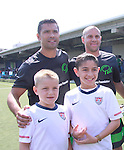 "Chris Armas (L) and All My Children's Mark Consuelos participates at the ""Kicking It"" at the Annual Tribeca/NYFEST Soccer Day Celebrity Exhibition on April 21, 2012 - NYFEST (which stands for New York Film and Entertainment Soccer Tournament) was designed to mesh the worlds of entertainment, soccer and New York City in conjunction with the Tribeca Film Festival. The day included a film and entertainment industry tournament with 44 teams with one winner the Grassrootsoccer team which Mark Consuelos played on was cofounded by Survivor winner Ethan Zohn. The all-day event took place at Pier 40 in Manhattan, and consisted of an industry tournament, a youth showcase, and a celebrity soccer tournament.  (Photo by Sue Coflin/Max Photos)"