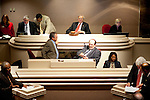 Members of the Alabama House of Representatives, including Representative Seth Hammett, Speaker of the Alabama House (top, center), in session at the Alabama State House in Montgomery, Alabama April 14, 2010.
