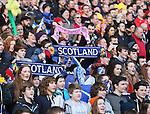 Scotland fans hold up scarves - RBS 6Nations 2015 - Scotland  vs Wales - BT Murrayfield Stadium - Edinburgh - Scotland - 15th February 2015 - Picture Simon Bellis/Sportimage