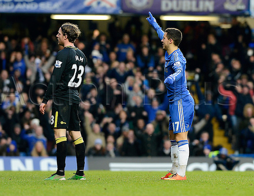 09.02.2013. London, England. Eden Hazard of Chelsea celebrates scoring during the Premier League game between Chelsea and Wigan Athletic from Stamford Bridge.