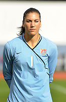 Hope Solo. The USWNT defeated Iceland (2-0) at Vila Real Sto. Antonio in their opener of the 2010 Algarve Cup on February 24, 2010.