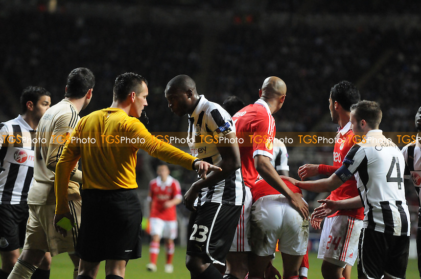 Shola Ameobi of Newcastle United amongst the action - Newcastle United vs Benfica - UEFA Europa League, Quarter Final Second Leg Football at St James Park, Newcastle upon Tyne - 14/02/13 - MANDATORY CREDIT: Steven White/TGSPHOTO - Self billing applies where appropriate - 0845 094 6026 - contact@tgsphoto.co.uk - NO UNPAID USE