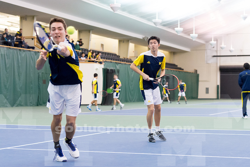 The University of Michigan men's tennis team,4-3 loss to Dartmouth University at theVarsity Tennis Center in Ann Arbor, Mich., on Feb. 26, 2015.