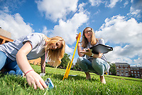 Kimberly Bailey, left, a high school student from Marks, and Lilly Mayerhoff, right, a high school student from Meridian, work together to calculate the height of the flag pole on Mississippi State's drill field during an Advanced Placement physics preparatory academy at MSU. The two-week residential program is part of a Global Teaching Project-led initiative to bring high-level courses to students in rural Mississippi school districts. <br />