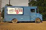 """16"""" Pizza $5.99 on old panel truck..Who's Inn, Nesbit, PA."""