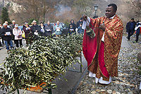 Switzerland. Canton Ticino. Barbengo. Church «San Carlo». Don Gerald Chukwudi Ani is a catholic priest from Nigeria (Africa). He is is blessing olive branches with a thurible before celebrating Palm Sunday which is a Christian moveable feast that falls on the Sunday before Easter. The feast commemorates Jesus' triumphal entry into Jerusalem, an event mentioned in each of the four canonical Gospels. In the  Catholic Church, worship services on Palm Sunday include a procession of the faithful carrying palms, representing the palm branches the crowd scattered in front of Jesus as he rode into Jerusalem. The difficulty of procuring palms in unfavorable climates led to their substitution with branches of native trees, including box, olive, willow, and yew. 25.03.2018 © 2018 Didier Ruef