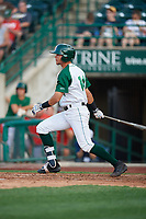 Fort Wayne TinCaps Justin Lopez (14) at bat during a Midwest League game against the Peoria Chiefs on July 17, 2019 at Parkview Field in Fort Wayne, Indiana.  Fort Wayne defeated Peoria 6-2.  (Mike Janes/Four Seam Images)