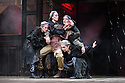 """London, UK. 22.06.2016.  Shakespeare's Globe presents """"Macbeth"""", by William Shakespeare, directed by Iqbal Khan.  Picture shows: Terence Keeley (Bloody Captain), Nadia Albini (Wyrd Sister), Danielle Bird (Wyrd Sister), Scarlett Brookes (Wyrd Sister), Kerry Gooderson (Wyrd Sister).  Photograph © Jane Hobson."""