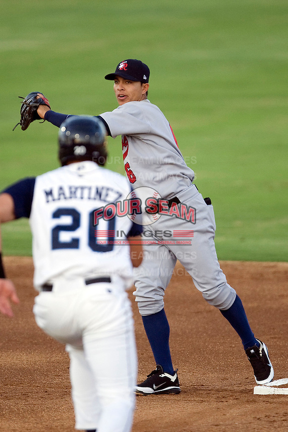 Arkansas Travelers shortstop Darwin Perez #6 forces Corpus Christi baserunner JD Martinez #20 at second during the Texas League All Star Game played on June 29, 2011 at Nelson Wolff Stadium in San Antonio, Texas. The South defeated the North 3-2 in the contest. (Andrew Woolley / Four Seam Images)
