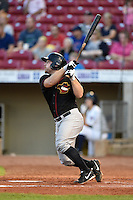 Quad Cities River Bandits catcher Brett Booth (9) at bat during a game against the Cedar Rapids Kernels on August 19, 2014 at Perfect Game Field at Veterans Memorial Stadium in Cedar Rapids, Iowa.  Cedar Rapids defeated Quad Cities 5-3.  (Mike Janes/Four Seam Images)