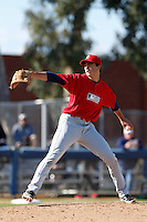 Andrew Wright of Cathedral Catholic High School in San Diego, California participates in the Southern California scouts game for high school seniors at the Urban Youth Academy on February 9, 2013 in Compton, California. (Larry Goren/Four Seam Images)