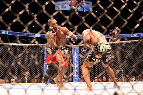 "24.09.2011. Denver, Colorado. Jon ""Bones"" Jones throws a punch at Quinton ""Rampage"" Jackson  during UFC 135 at the Pepsi Center in Denver, Colorado."