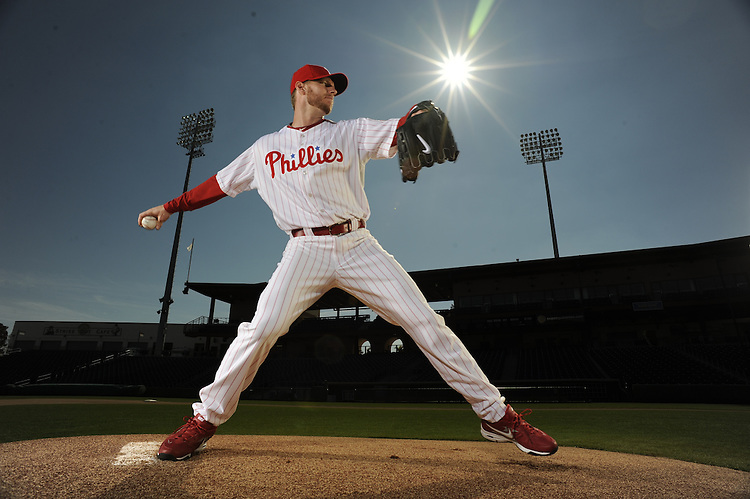 Jan 19, 2010-- Clearwater, FL ..Philadelphia Phillies pitcher Roy Halladay poses at Bright House Network Field, the Spring Training home of the Philadelphia Phillies..Photo by Preston C. Mack / The Sporting News