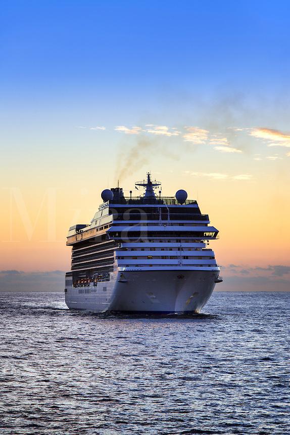 Cruise ship at sea.