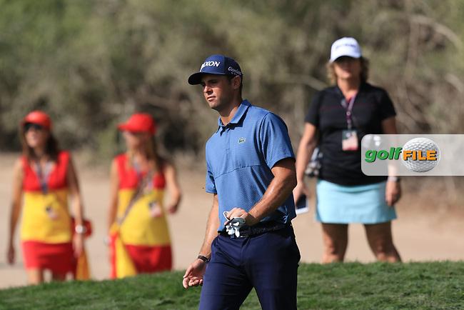 Adri Arnaus (ESP) on the 2nd during Round 4 of the Omega Dubai Desert Classic, Emirates Golf Club, Dubai,  United Arab Emirates. 27/01/2019<br /> Picture: Golffile   Thos Caffrey<br /> <br /> <br /> All photo usage must carry mandatory copyright credit (&copy; Golffile   Thos Caffrey)