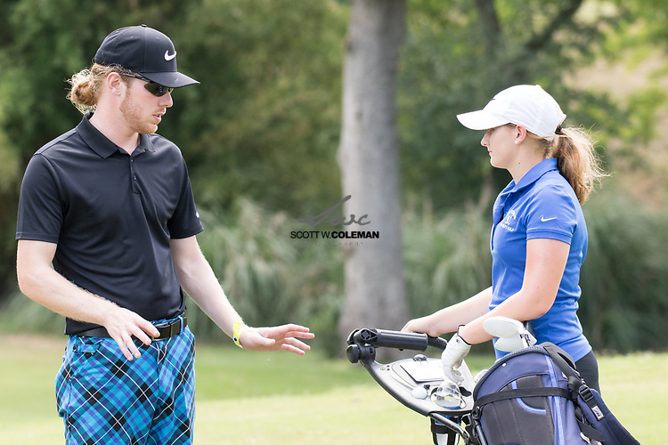 Lana Jesseph of La Vernia High School talks with coach Joshua Miller after finishing up on the par-3 No. 13 hole during the opening round of the Class 4A girls state golf tournament at Slick Rock Golf Course in Horseshoe Bay, Texas, on Monday, May 15, 2017.